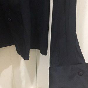 Oxygen Tops - Oxygen Black Silk Collared Long Sleeve